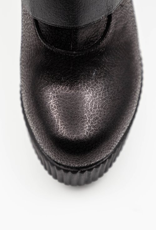 Botine din piele naturala nuanta negru sidefat