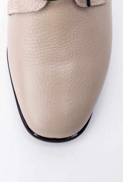 Botine inalte nuanta bej din piele naturala cu siret