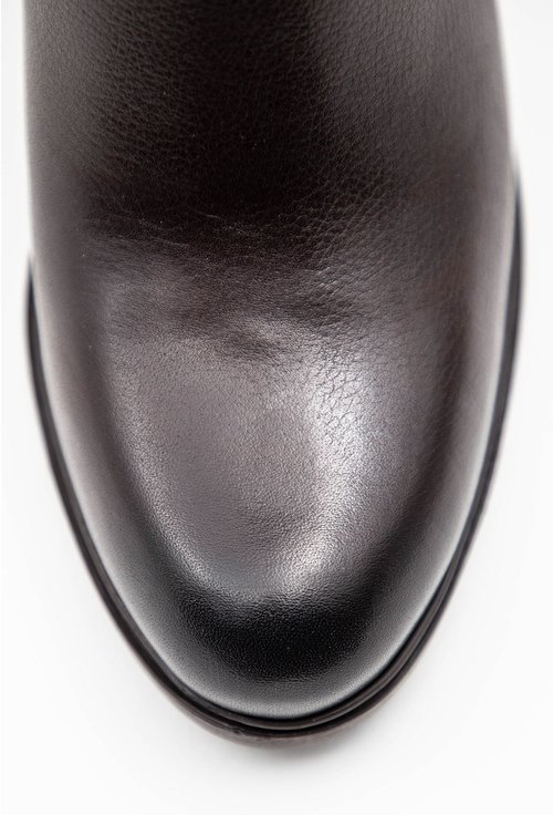 Botine maro brun din piele naturala cu fermoar accesoriu ciucure