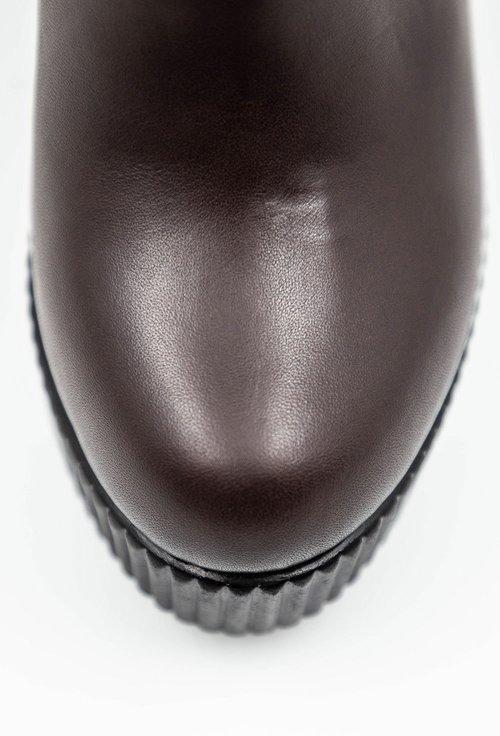 Botine maro ciocolatiu din piele cu detaliu cusaturi si curea