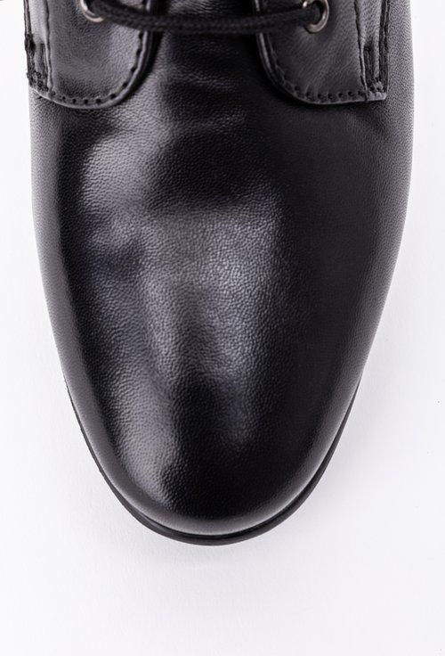 Botine negre cu siret din piele naturala