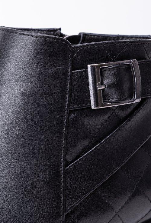 Botine negre din piele box cu aspect matlasat in partea din spate
