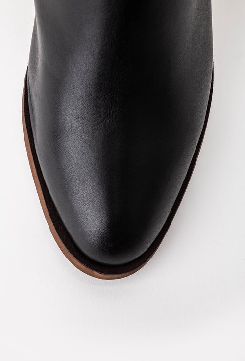 Botine negre din piele cu toc geometric
