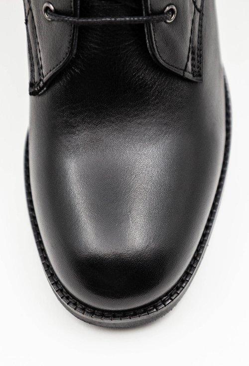 Botine negre din piele naturala box cu siret