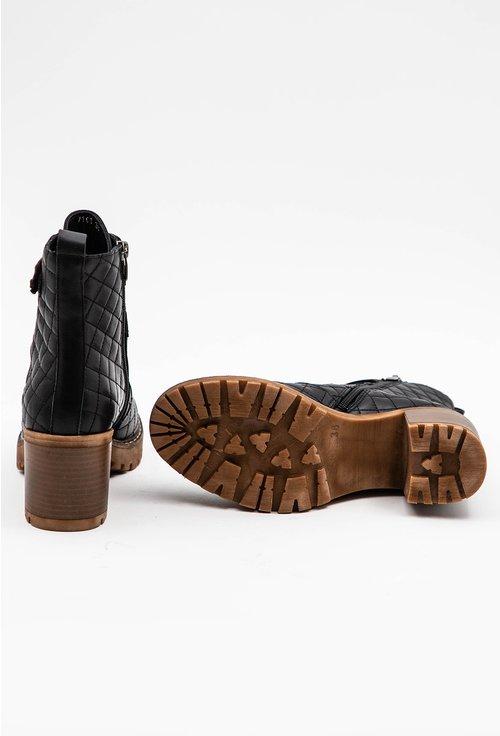 Botine negre din piele naturala cu model cusaturi