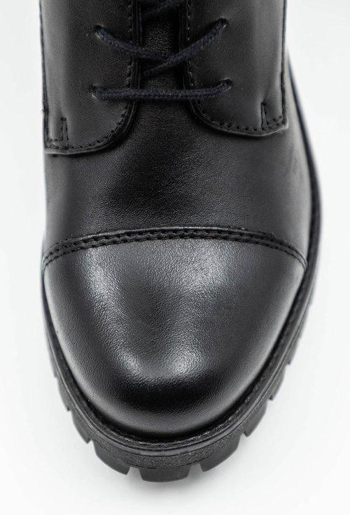 Botine negre din piele naturala cu siret Sandy