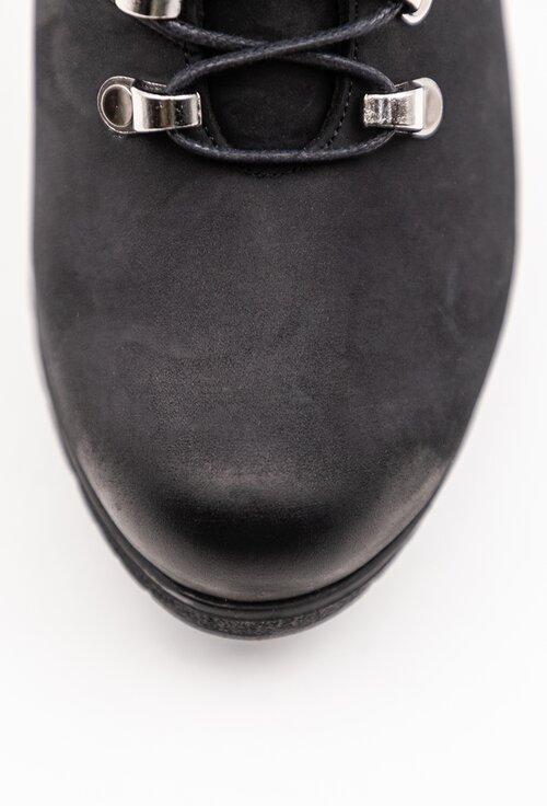 Botine negre din piele naturala intoarsa
