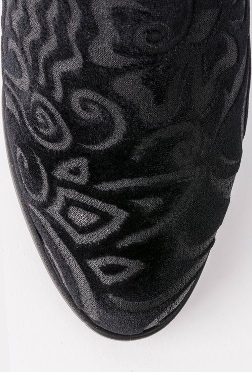 Botine negre din piele naturala intoarsa Flavia