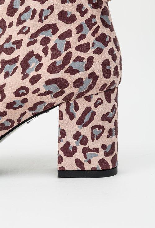 Botine roz din piele naturala animal print