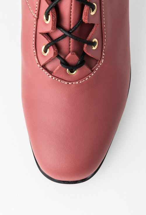 Botine roz-trandafiriu din piele naturala cu siret Mayte