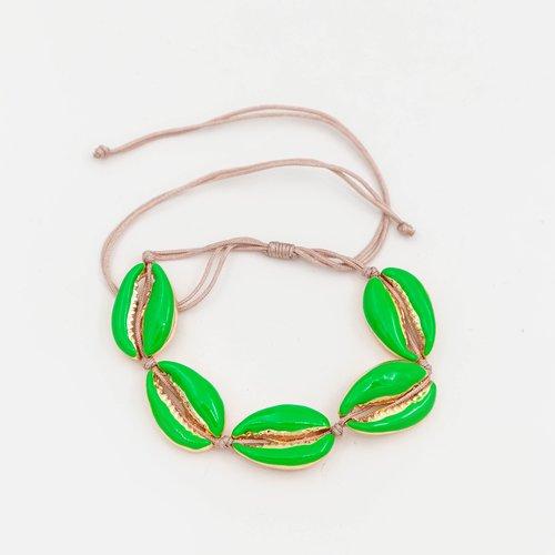 Bratara cu snur cu model scoica verde