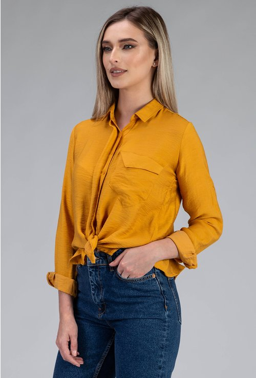 Camasa nuanta galben mustar decorata cu buzunar