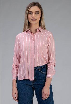Camasa roz cu dungi albe