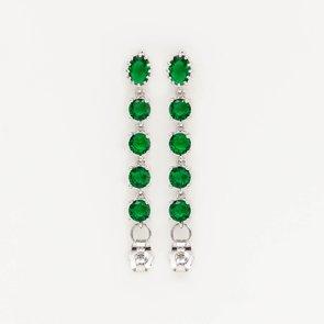 Cercei lungi cu pietre verzi de zirconiu