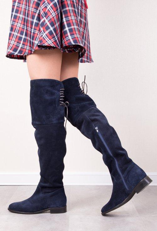 Cizme bleumarin peste genunchi din piele naturala intoarsa Kamelia