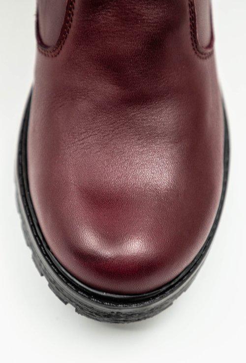Cizme din piele naturala box bordo cu fermoar