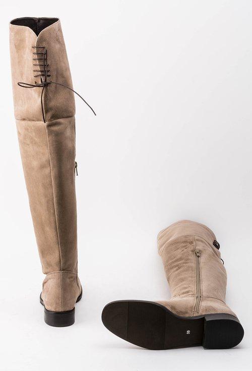 Cizme grej peste genunchi din piele naturala intoarsa Kamelia