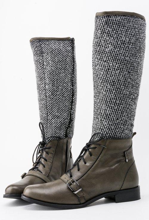 Cizme kaki din piele naturala si material textil Tania