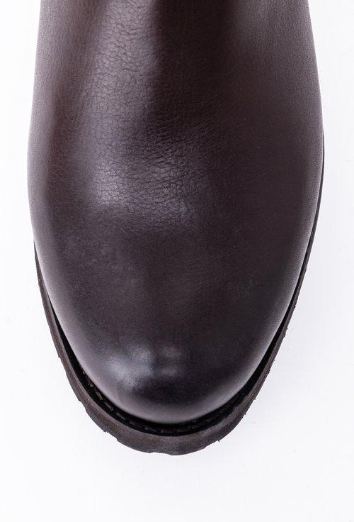 Cizme maro brun din piele accesorizate cu fermoar