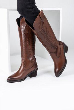 Cizme maro din piele naturala de inspiratie cowboy