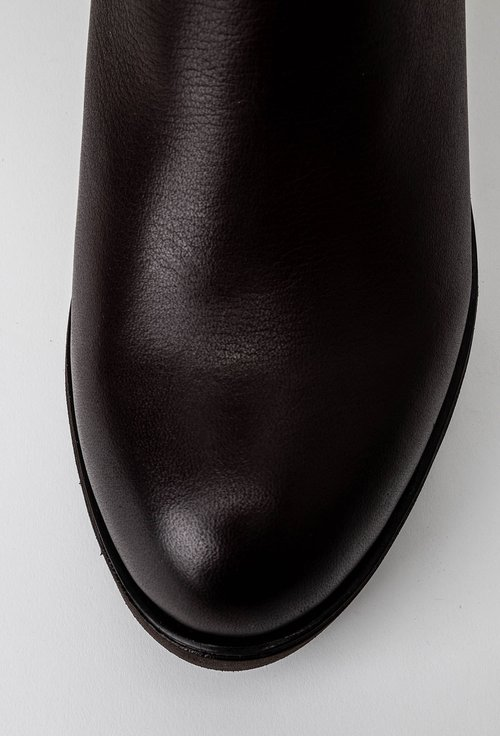 Cizme maro din piele naturala si material textil