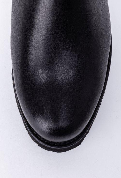 Cizme negre din piele accesorizate cu fermoar