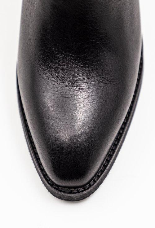 Cizme negre din piele naturala de inspiratie cowboy