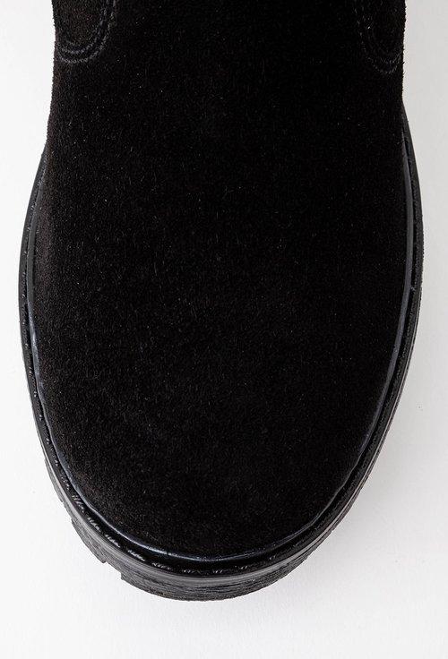 Cizme negre din piele naturala intoarsa cu doua fermoare