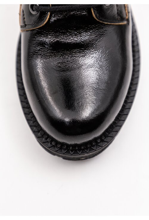 Cizme negre din piele naturala lacuita