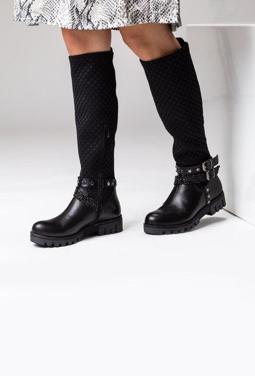 Cizme negre din piele naturala si material textil