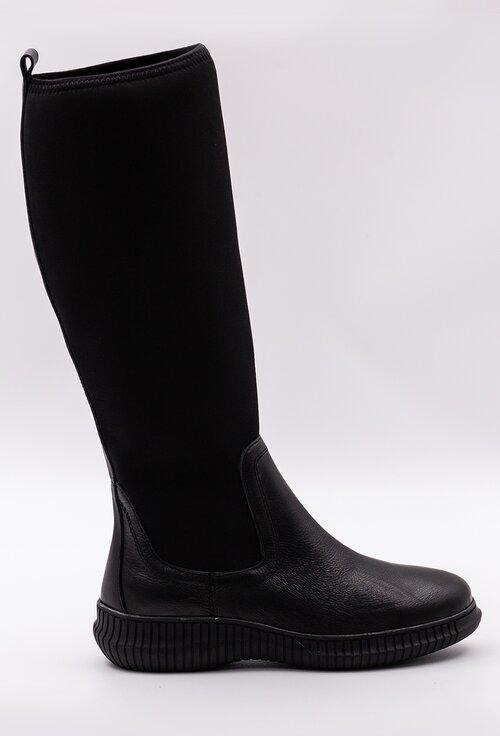 Cizme negre din piele si material textil stretch