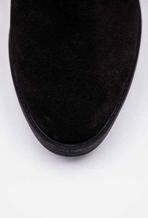 Cizme negre din piele tip camoscio