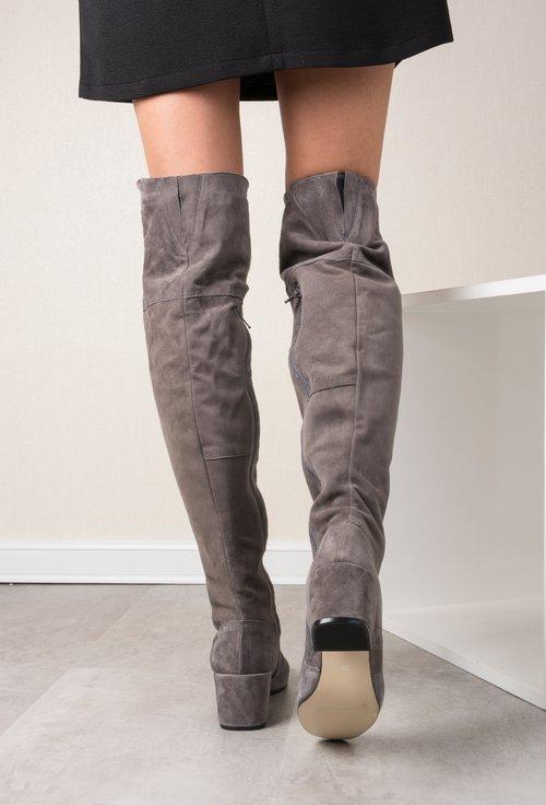Cizme peste genunchi gri din piele naturala  Clarisse