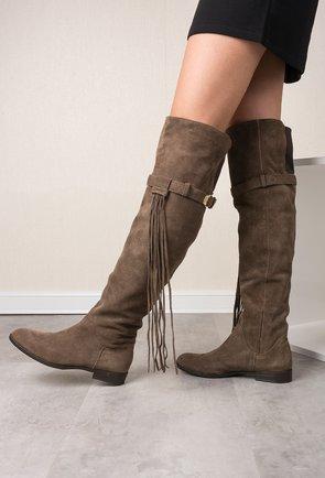 Cizme peste genunchi taupe din piele naturala Lorette