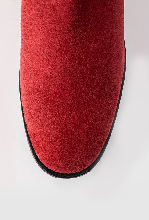 Cizme rosii peste genunchi din piele naturala intoarsa Kamelia