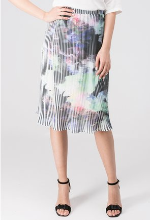 Fusta plisata alba cu imprimeu multicolor Helen
