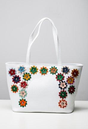 Geanta alba din piele naturala cu model floral colorat Alia