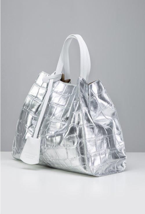 Geanta argintie tip shopper din piele naturala