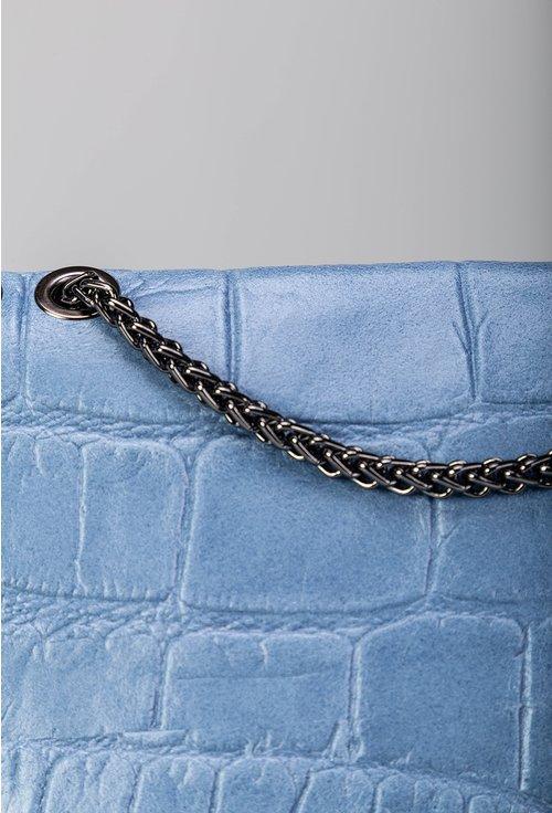 Geanta bleu din piele naturala cu lant