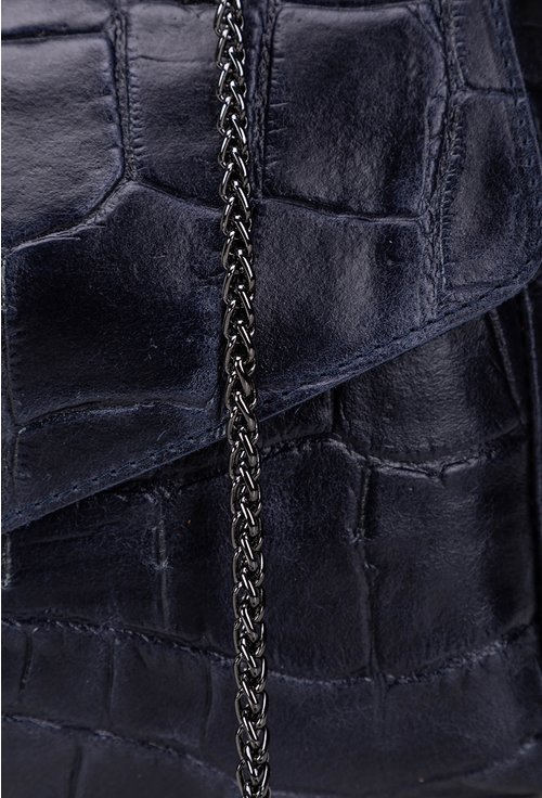 Geanta bleumarin din piele naturala cu lant