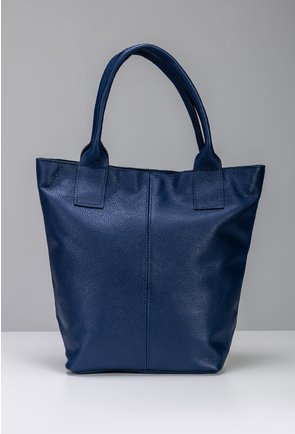 Geanta bleumarin din piele naturala tip shopper cu fermoar