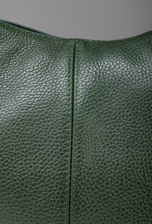 Geanta casual nuanta verde din piele naturala