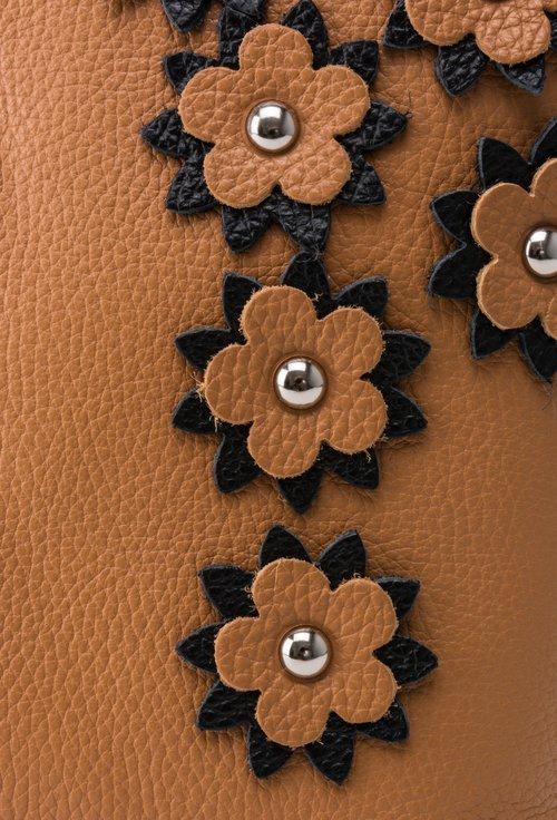 Geanta cognac din piele naturala cu model floral cognac cu negru Alia