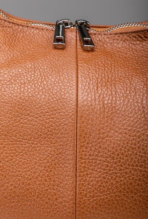Geanta cognac din piele naturala de mari dimensiuni