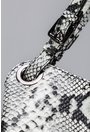 Geanta din piele naturala alb fildes-gri cu imprimeu reptila