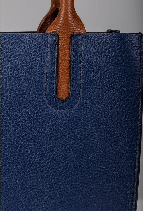 Geanta din piele naturala bleumarin cu detalii maro