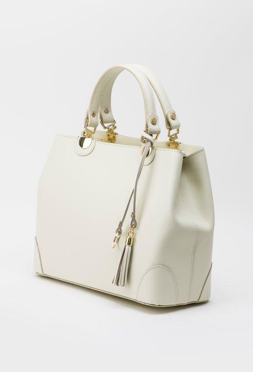 Geanta nuanta alb fildes din piele naturala Charlize