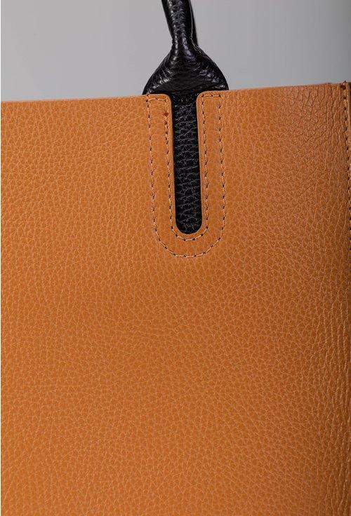 Geanta din piele naturala maro cognac cu detalii negre