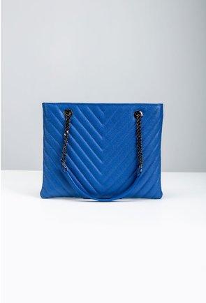 Geanta din piele naturală nuanta albastru electric
