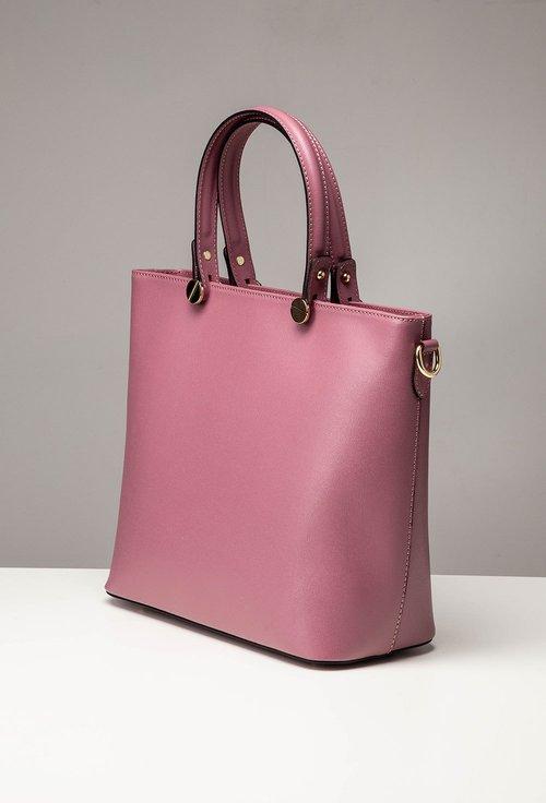 Geanta din piele naturala nuanta roz-lila inchis